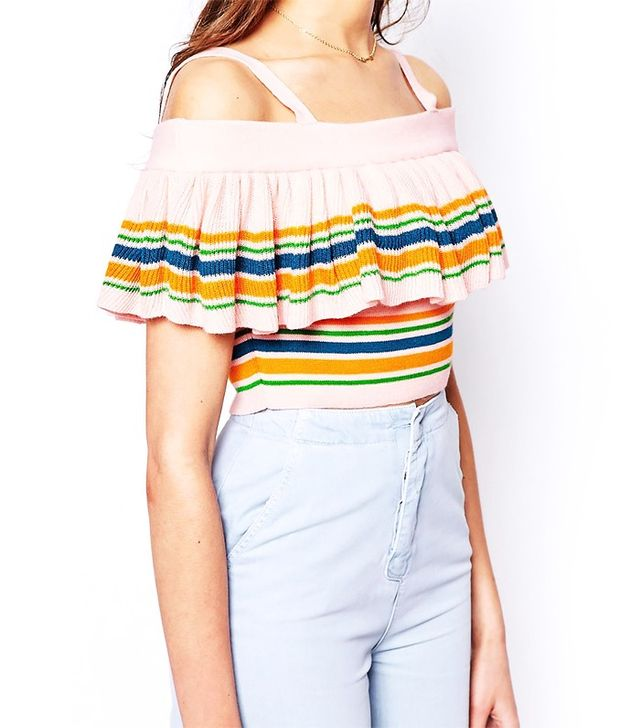 ASOS Knitted Top Off Shoulder With Stripe Ruffle Detail