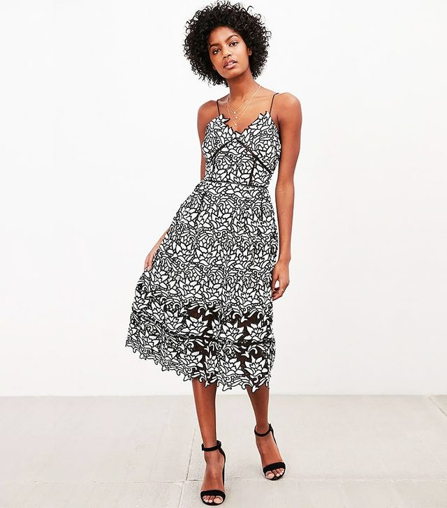 Elliatt Paradise Black + White Lace Midi Dress
