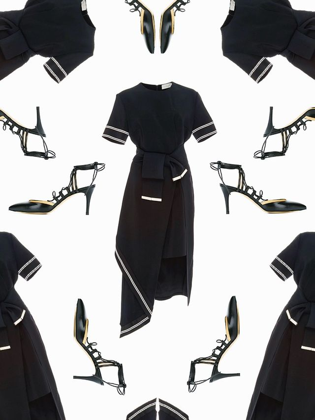 Pictured: Preen by Thornton Bregazzi Nila Asymmetrical Dress With Belt ($728); Bionda Castana Nikita Pumps ($311).