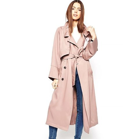 Trench in Waterfall Drape With Roll Back Sleeve