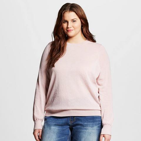 Women's Plus Size Split Cuff Crew Sweater