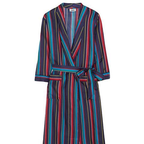 Marianne Striped Silk-Charmeuse Robe