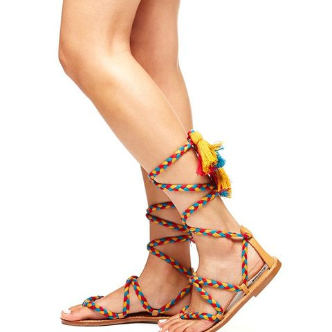 Braided Gladiator Lace Up Sandals