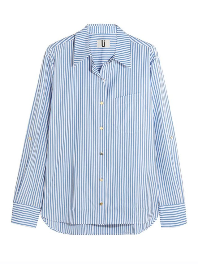 Topshop Unique Dorney Striped Cotton-Poplin Shirt