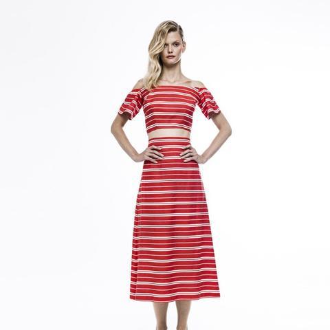Linen Stripe A-Line Skirt