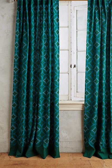 Anthropologie Concave Diamonds Curtains in Teal