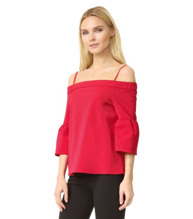 Tibi Off Shoulder Lantern Sleeve Blouse