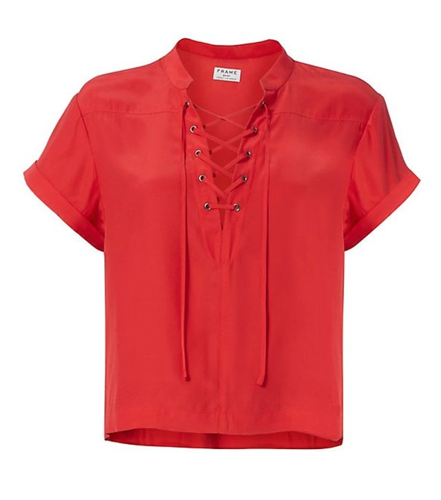 Frame Lace-Up Neckline Blouse