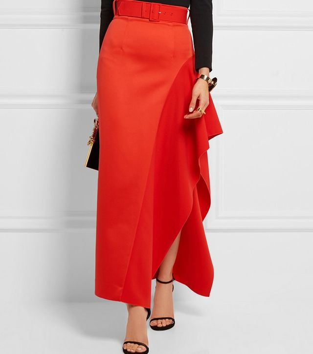 Solace London Kaya Asymmetric Belted Charmeuse Maxi Skirt