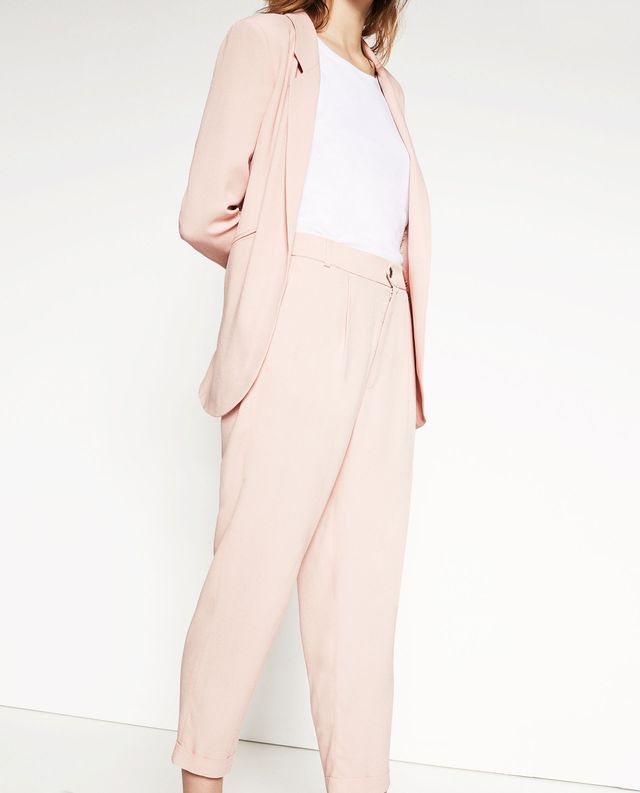 Zara Cropped Trousers With Front Pleat