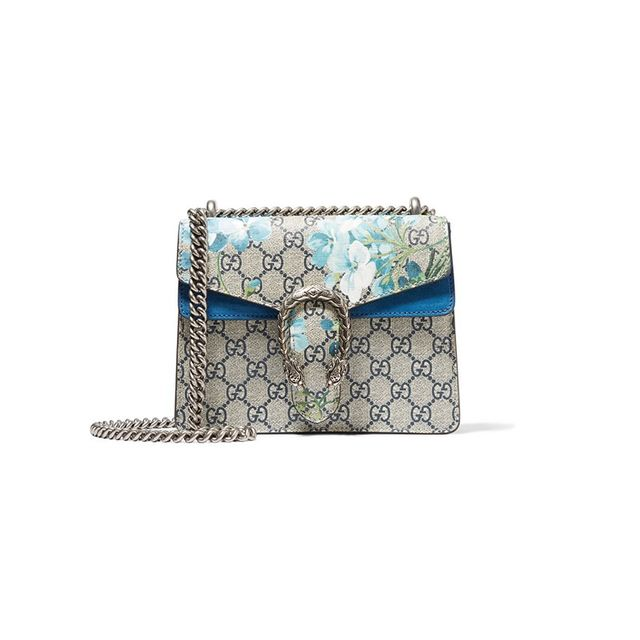 Gucci Dionysus Mini Suede-Trimmed Printed Coated Canvas Shoulder Bag