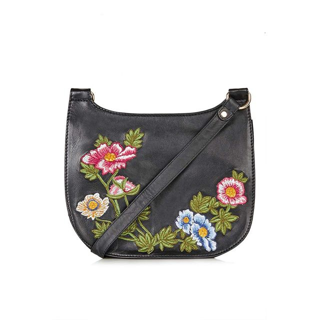 Topshop Floral Leather Saddle Bag