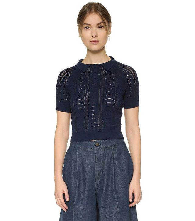 Carven Short Sleeve Polo Sweater