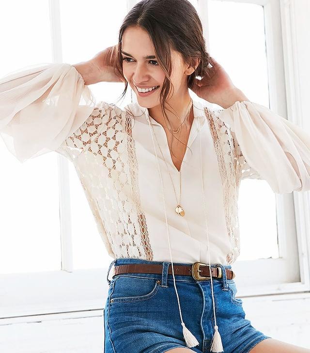Ecote Crochet Tassel TieBlouse