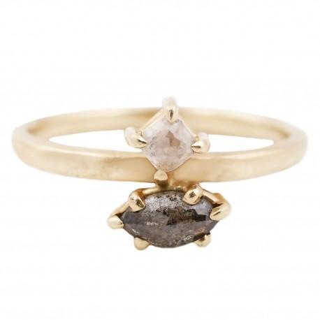 Esqueleto Double Diamond Ring