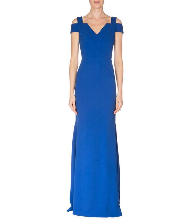 Roland Mouret Nansen Cold-Shoulder Fluted Gown