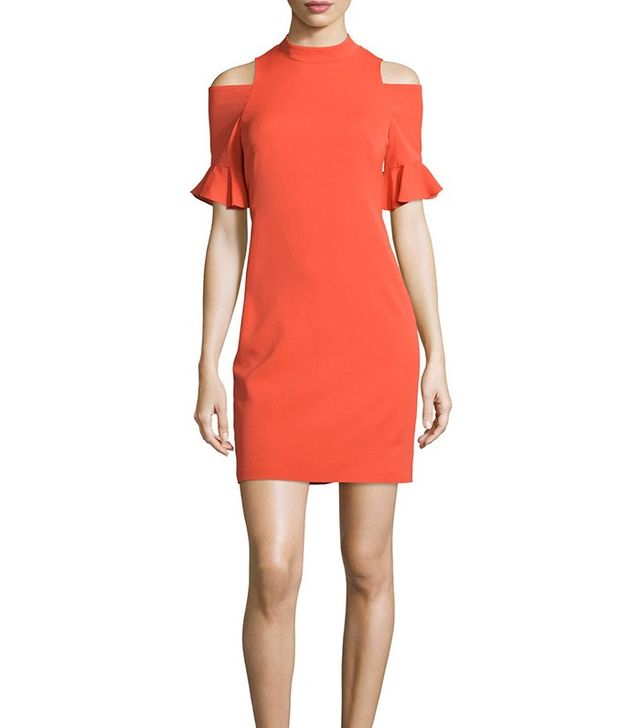 Rebecca Taylor Crepe Cold-Shoulder Sheath Dress