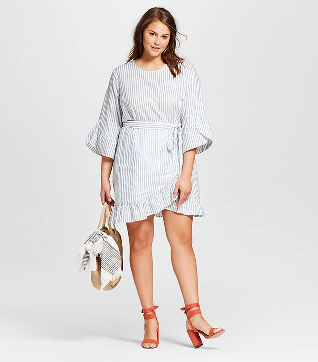 Who What Wear Plus Size Belted Ruffle Dress