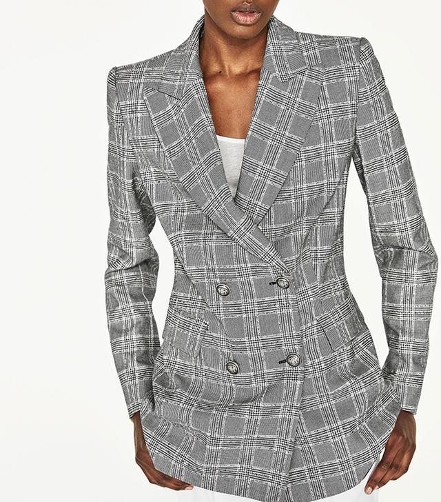 Zara Double-Breasted Checked Jacket