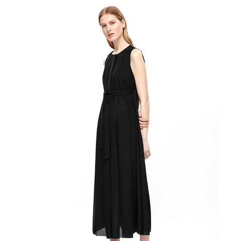 Tie-Waist Pleated Dress