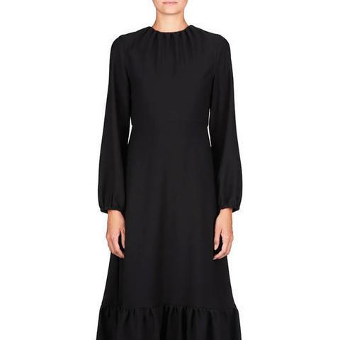 Midi Dress With Frill Hem