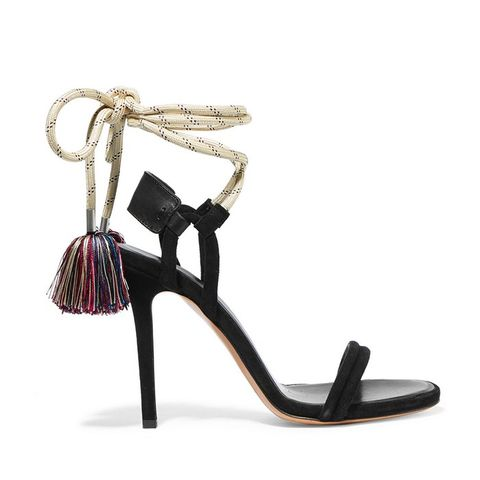 Alois Tasseled Leather-Trimmed Suede Sandals