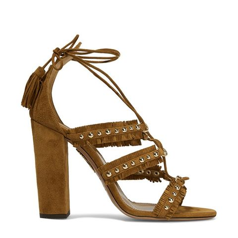 Tulum Fringed Studded Suede Sandals