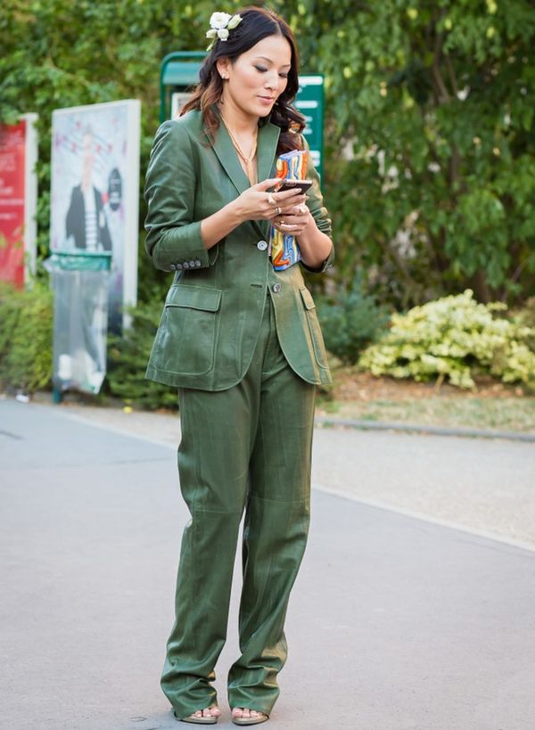 Style Notes: Slip on a skinny scarf to nod tothe retro roots of this trend.
