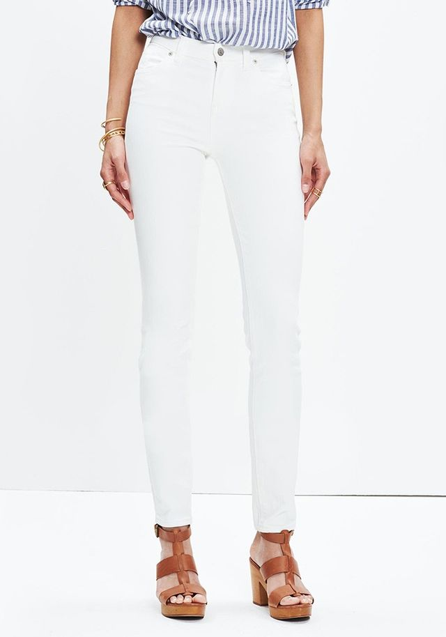 "Madewell 9"" High-Rise Skinny Jeans in Pure White"