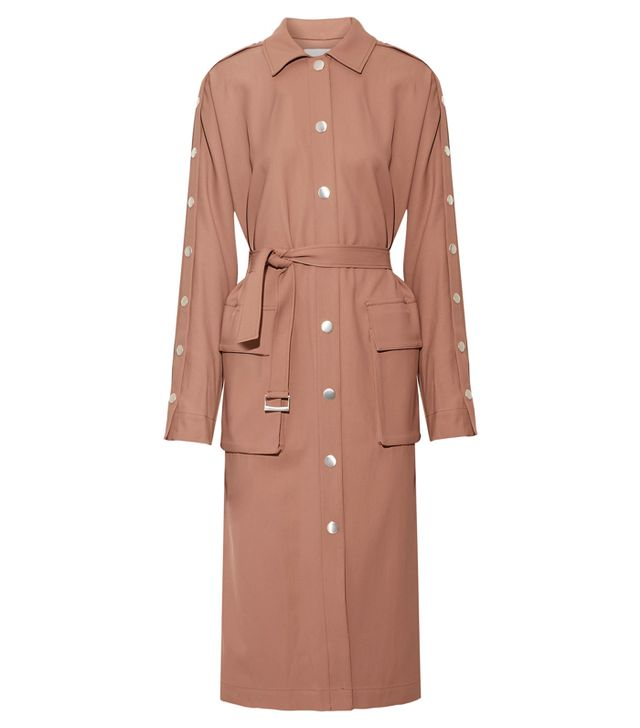 How to get ready fast in the morning: Tibi Embellished Satin-Twill Trench Coat