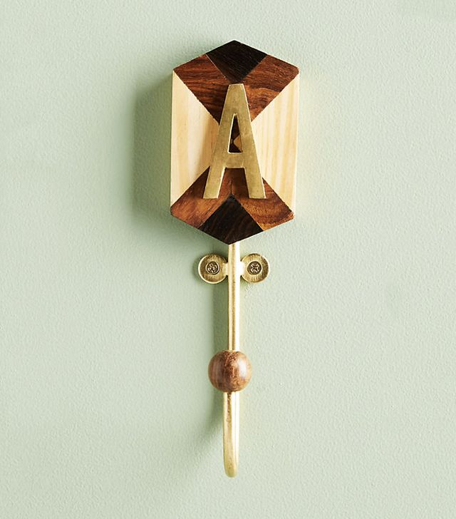How to get ready fast in the morning: Anthropologie Marquetry Monogram Hook