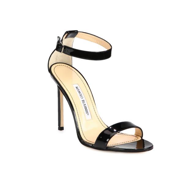 Manolo Blahnik Chaos Patent Leather Ankle-Strap Sandals