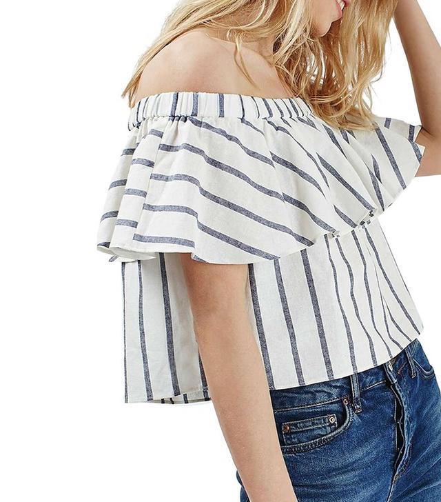 Topshop Petite Stripe Ruffle Bardot Top