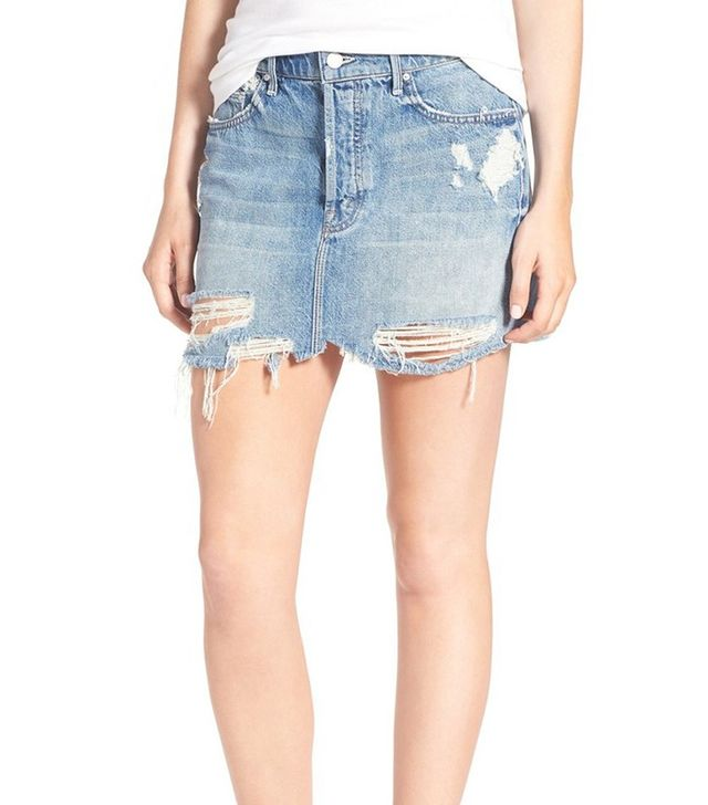 Mother Vagabond Destroyed Denim Miniskirt