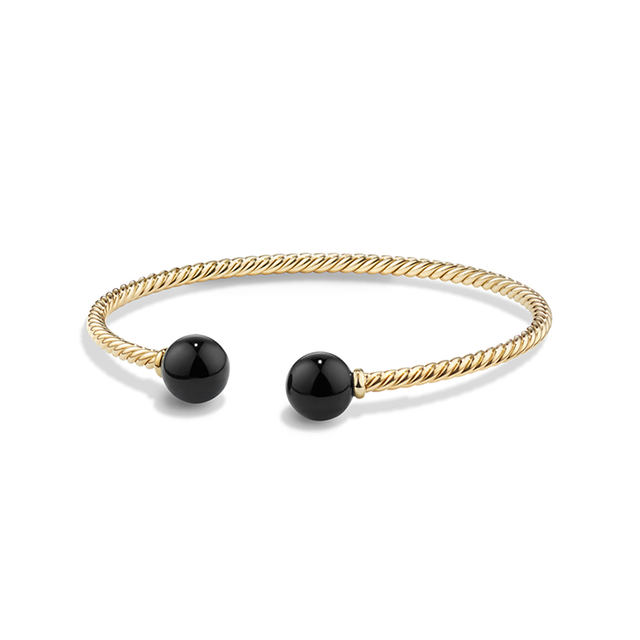 David Yurman Solari Bead Bracelet in 18K Gold with Black Onyx