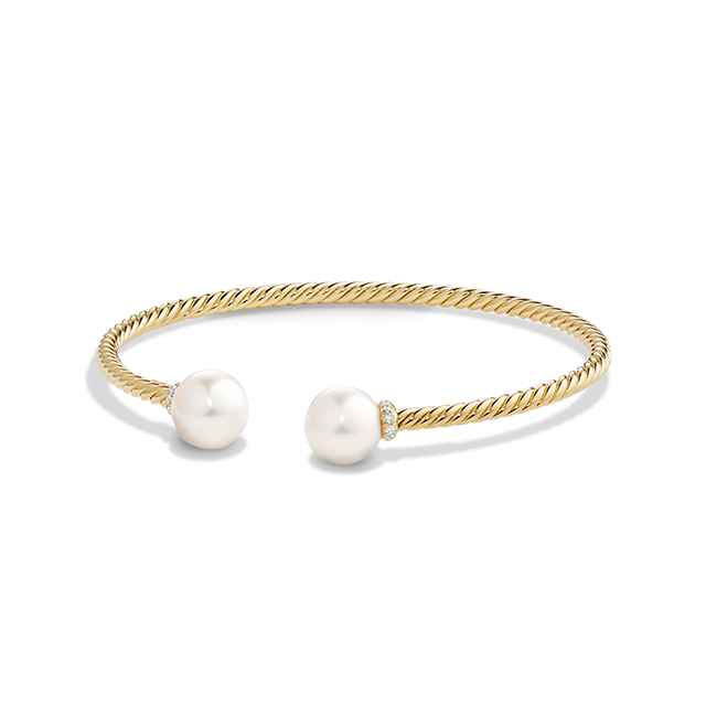 David Yurman Solari Bead Bracelet in 18K Gold with White Cultured Freshwater Pearl