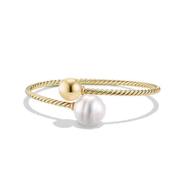 David Yurman Solari Bypass Bracelet in 18K Gold with South Sea White Pearl and 18K Gold Bead