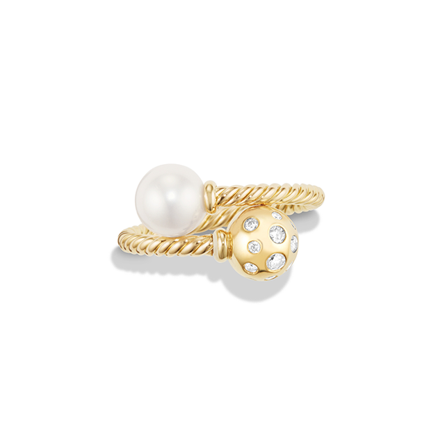 David Yurman Bypass Ring in 18K Gold with White Cultured Freshwater Pearl and Diamonds