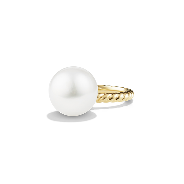 David Yurman Solari Large Ring in 18K Gold with South Sea White Pearl