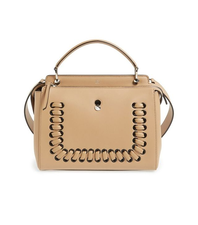 Fendi Dot Com Lace-Up Leather Satchel