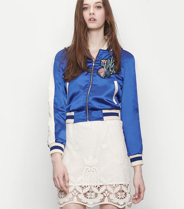 Maje Bacary Varsity-Style Two-Tone Satin Jacket