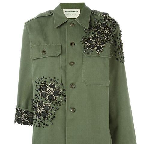 Flower Appliqué Military Jacket