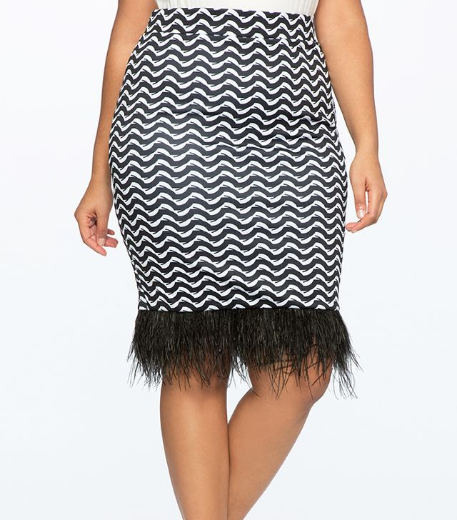 Eloquii Printed Skirt with Feather Hem