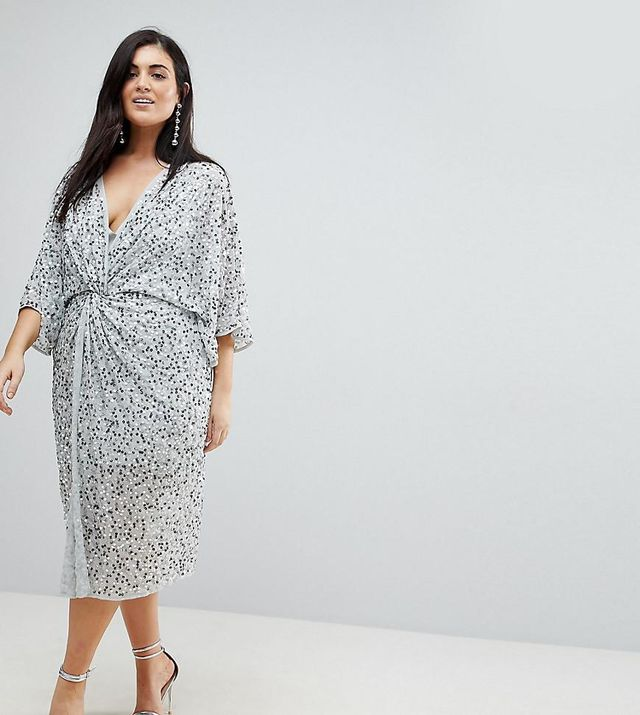 ASOS CURVE Embellished Sequin Kimono Midi Dress