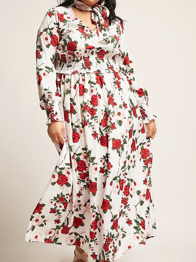 Forever 21+ Floral Pussycat Bow Maxi Dress