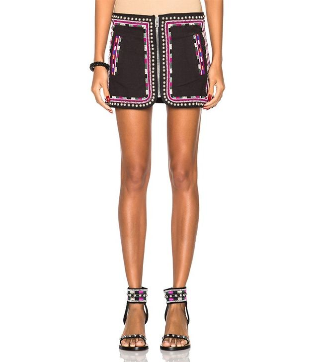 Isabel Marant Sybil Embroidered Cotton Twill Skirt