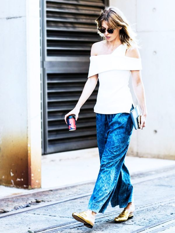 Street style flat shoes outfit inspiration: metallic brogues