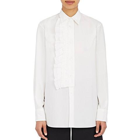Ruffled-Placket Poplin Shirt