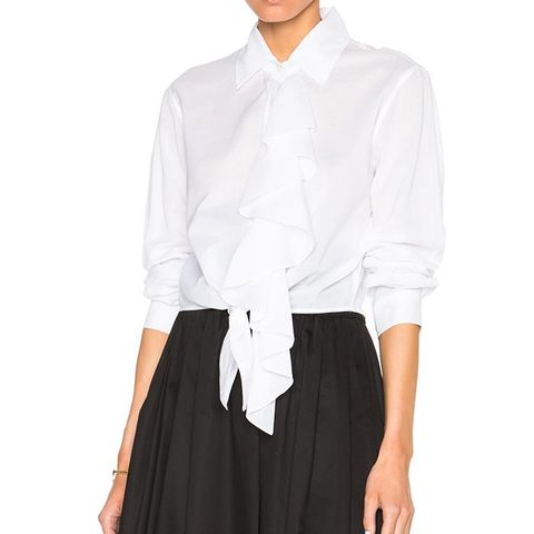 Tie Front Shirt with Ruffle