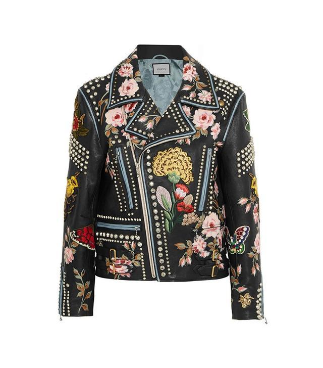 Gucci Embellished Leather Biker Jacket
